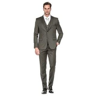 Porto Filo 3 Pcs OLIVE Slim-Fit Men's Suit (Jacket+ Pant+Vest)