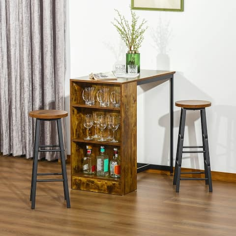 HOMCOM 3 Piece Industrial Style Bar Table Set, Pub Dining Table Set Height Table and 2 Stools, Rustic Brown