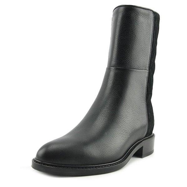 Aquatalia Gabrina Women Round Toe Leather Black Mid Calf Boot