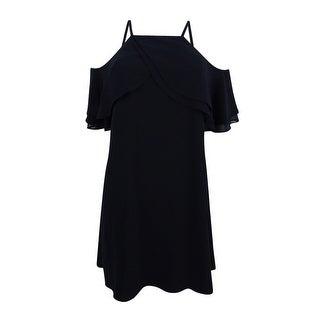 Rachel Roy Women's Ruffled Cold-Shoulder Dress - Black