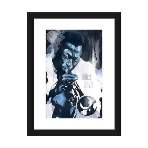 "iCanvas ""Miles Davis"" by Elliot Griffin Framed Fine Art Paper Print"