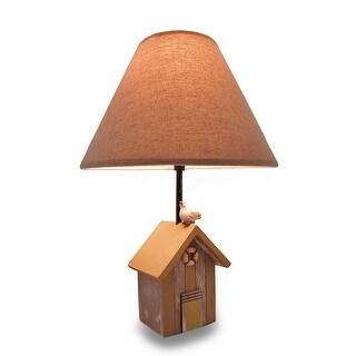 Weathered Finish Wooden Beach Shack Lamp w/Fabric Shade