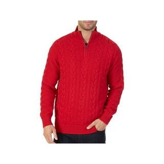 Nautica Mens Pullover Sweater 1/2 Zip Cable Knit - S
