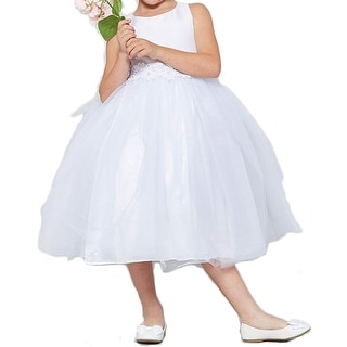 784eff773d5 Flower Girl Dress Asymmetric Ruffles Satin   Organza White CB 302 ...