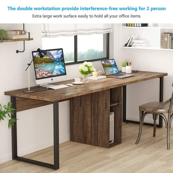 78 Extra Large Double Workstation Computer Desk For