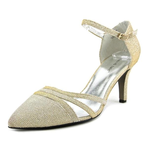 David Tate Avi Women WW Pointed Toe Canvas Gold Heels