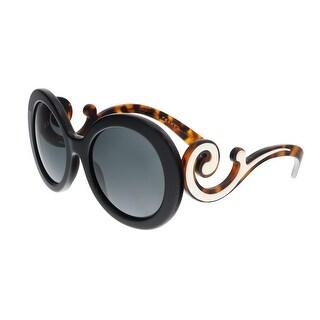 Prada PR 08TS?1AB1A1 Black Round Minimal Baroque Sunglasses - 55-22-135