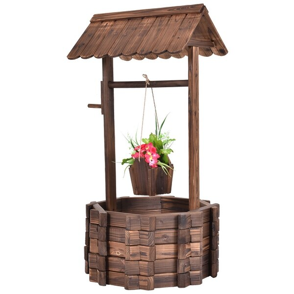 Costway Outdoor Wooden Wishing Well Bucket Flower Plants Planter Patio  Garden Home Decor   Wood