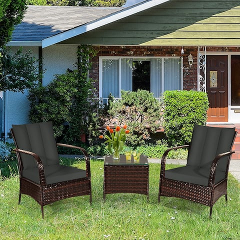Gymax 3PCS Outdoor Patio Rattan Conversation Set Furniture Set w/
