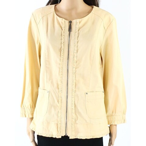 Live a Little Yellow Women's Size Small S Front Full Zip Jacket