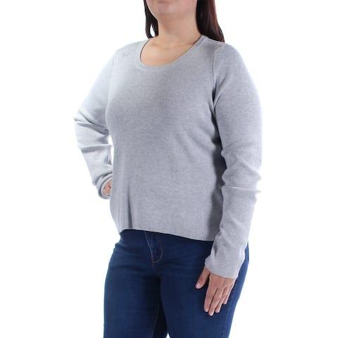 GUESS $69 Womens New 1009 Gray Long Sleeve Jewel Neck Casual Sweater XL B+B