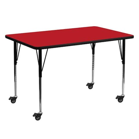 """Offex 30""""W x 60""""L Mobile Rectangular Activity Table with 1.25"""" Thick High Pressure Red Laminate Top and Height Adjustable Leg"""