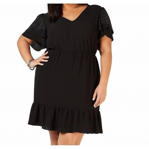 Michael Kors Womens A-Line Dress Black Size 2X Plus V-Neck Ruffle Hem