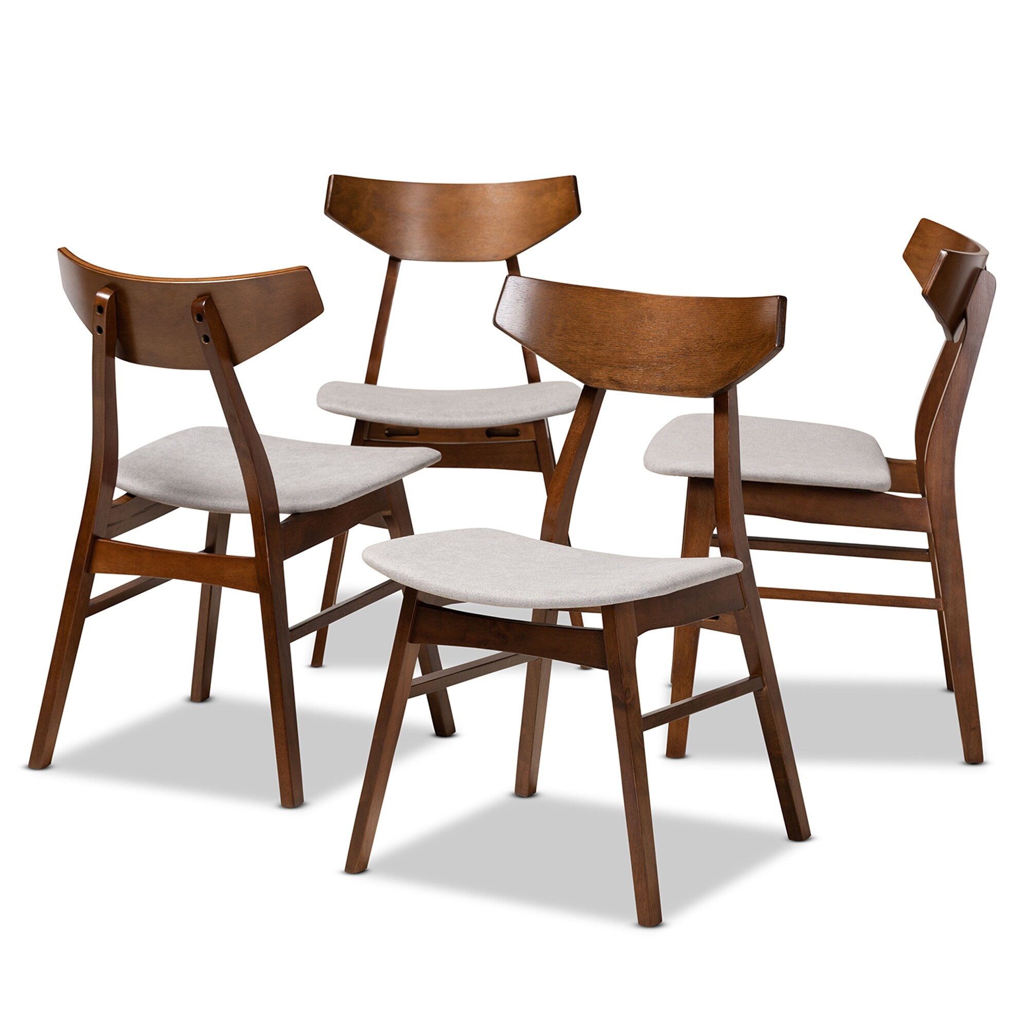 Danica Mid Century Modern Transitional 4 Piece Dining Chair Set Overstock 31227447 Light Grey
