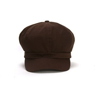Cotton Elastic Newsboy Cap - Brown