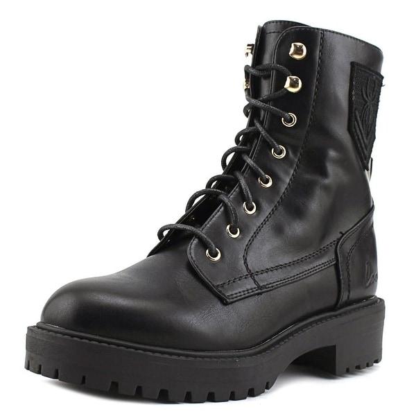 Coolway Harlen Women Round Toe Leather Black Combat Boot