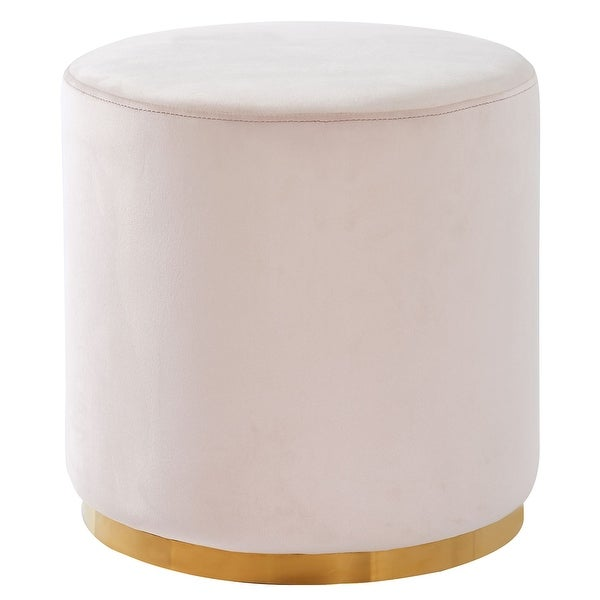 """18"""" Beige and Gold Contemporary Round Ottoman - N/A"""