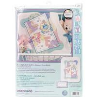 "Baby Hugs Zoo Alphabet Quilt Stamped Cross Stitch Kit-34""X43"""