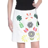 CYNTHIA ROWLEY Womens White Printed Tassle Above The Knee A-Line Skirt  Size: 0