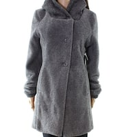Lola NEW Gray Women's Size Large L Wool Blend Hooded Buttoned Coat