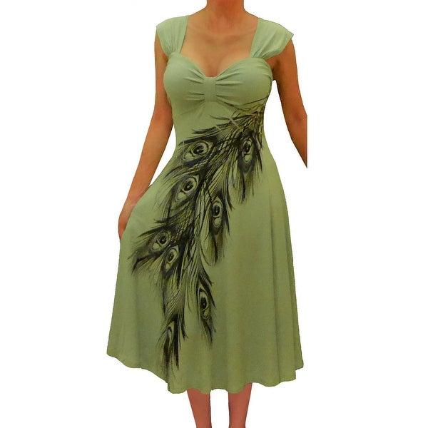 Funfash Plus Size Women Olive Sage Green Peacock Dress Made in USA