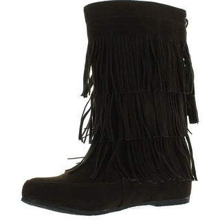 West Blvd Womens Lima Suede Fringe Moccasin Boots