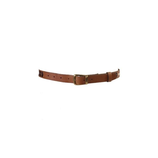Fossil Tan Dawson Embellished Woven Belt L