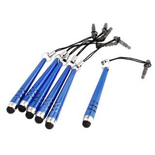 Unique Bargains 6pcs Anti Dust Plug Capacitive Touch Screen Stylus Pen Blue for Cell Phone