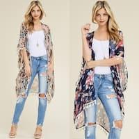 Riah Fashion Women's Floral Tassel Kimono Cardigan