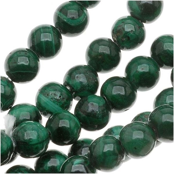 Malachite 4mm Round Beads 15.5 Inch Strand Green Stone