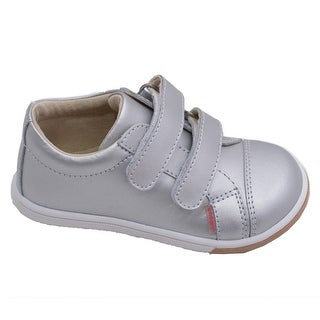 L'Amour Toddler Girls Silver Double Velcro Strap Leather Sneakers 4-10 Toddler