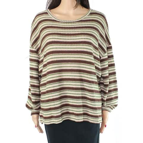 Lush Green Size Medium M Junior Sweater Pullover Striped Waffle Knit