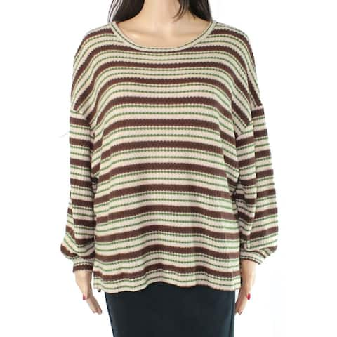 Lush Womens Sweater Olive Brown Size XS Pullover Striped Knit Scoop Neck