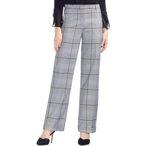 Vince Camuto Womens Dress Pants Glen Plaid Cuffed