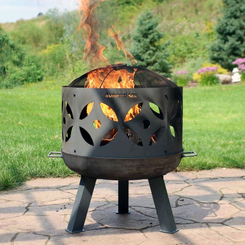 """26"""" Fire Pit Cast Iron with Gray Finish Retro Design with Spark Screen"""