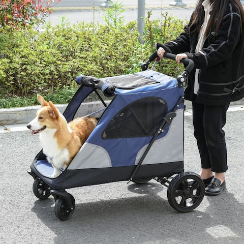 PawHut Pet Stroller Foldable Dog Cat Travel Carriage with Adjustable Handlebar Rear Door EVA Wheel Brake Storage Bag Mesh Window