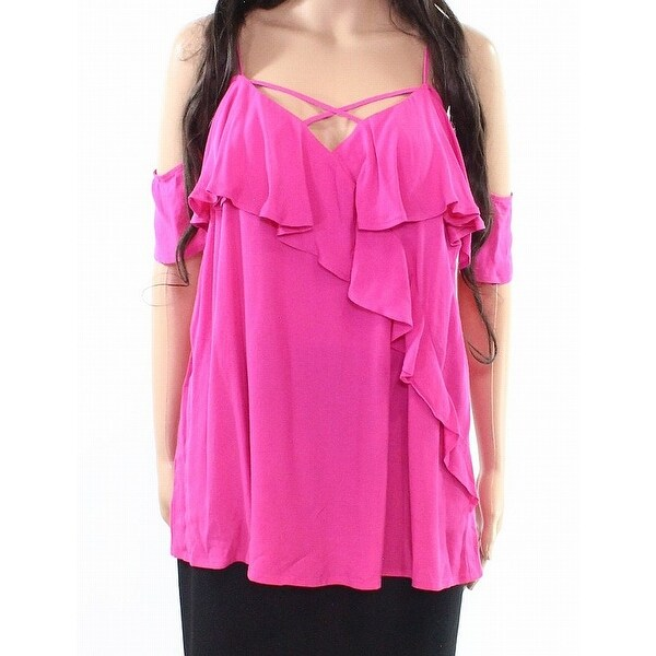 97504de1e587c Pink Womens Size Medium M Ruffled V-Neck Cold-Shoulder Blouse - On Sale -  Free Shipping On Orders Over  45 - - 22123408