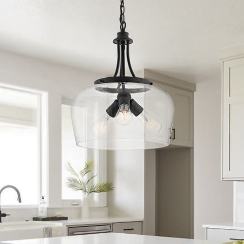 GetLedel 59.4-inch Industrial 3-Light Single Dome Pendant with Glass Shade
