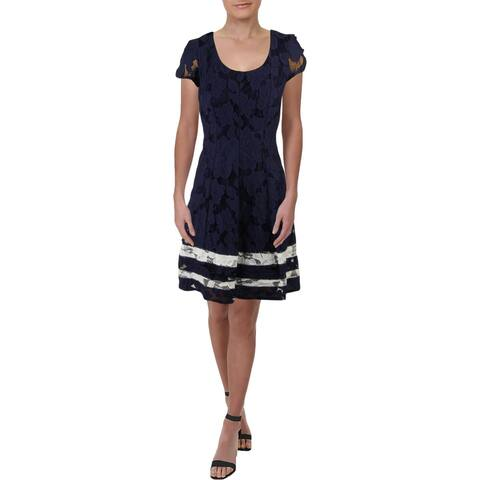 Signature By Robbie Bee Womens Petites Cocktail Dress Lace Fit & Flare - Navy/Ivory - 8P
