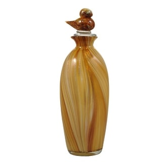 """13.5"""" Wheat Colored Hand Blown Art Glass Vase with Bird Stopper"""