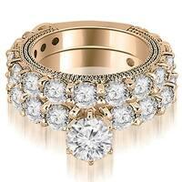 4.15 cttw. 14K Rose Gold Antique Round Cut Diamond Engagement Set