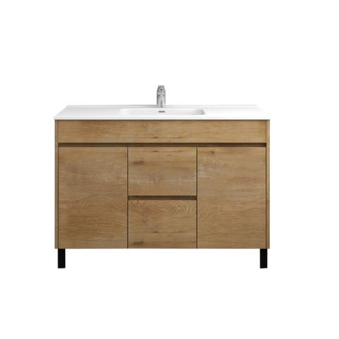 None-Grace 48 inch Natural Oak finish vanity with porcelain sink