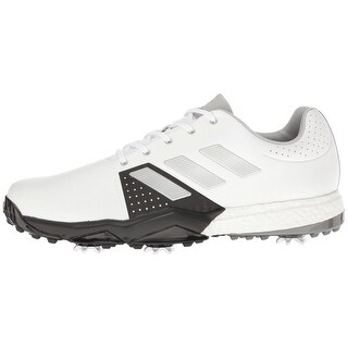 Adidas Men's Adipower Boost 3 White/Silver Metallic/Black Golf Shoes Q44756/Q44762