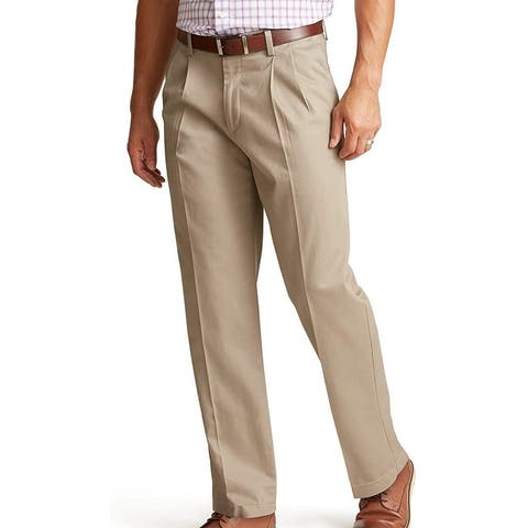 Dockers Mens Khaki Pants Beige Size 42X30 Relaxed Fit Pleated Stretch