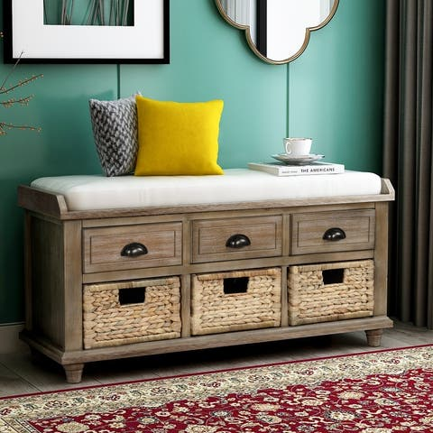Storage Bench with Drawers and Rattan Baskets Entryway Shoe Bench