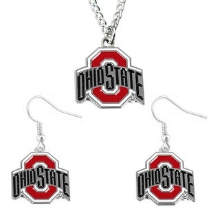 Ohio State Buckeyes Earring and Necklace Set Pendant