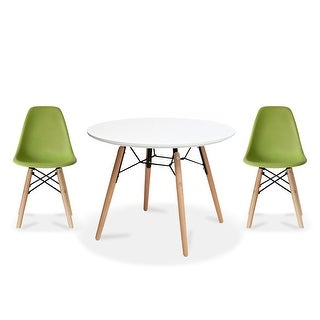 Overstock 2xhome Modern Accent Kids Toddler Children Side Armless Chair and Round Table Combo with Eiffel Natural Wooden Legs for Dining (Green)