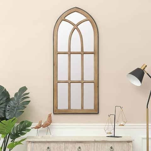 """Natural Wood Finish Window Wall Mirror - 48.6"""" H x 20.6"""" W"""