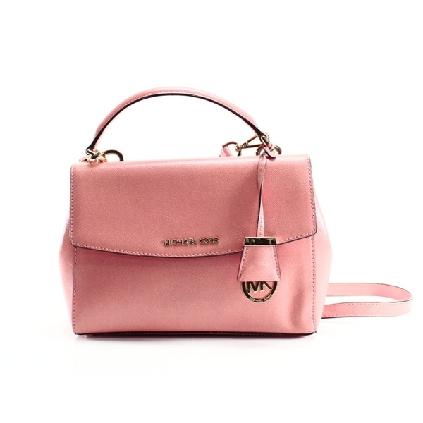 84afcb4e854b22 Shop Michael Kors NEW Peach Orange Patent Leather Small Ava Satchel ...