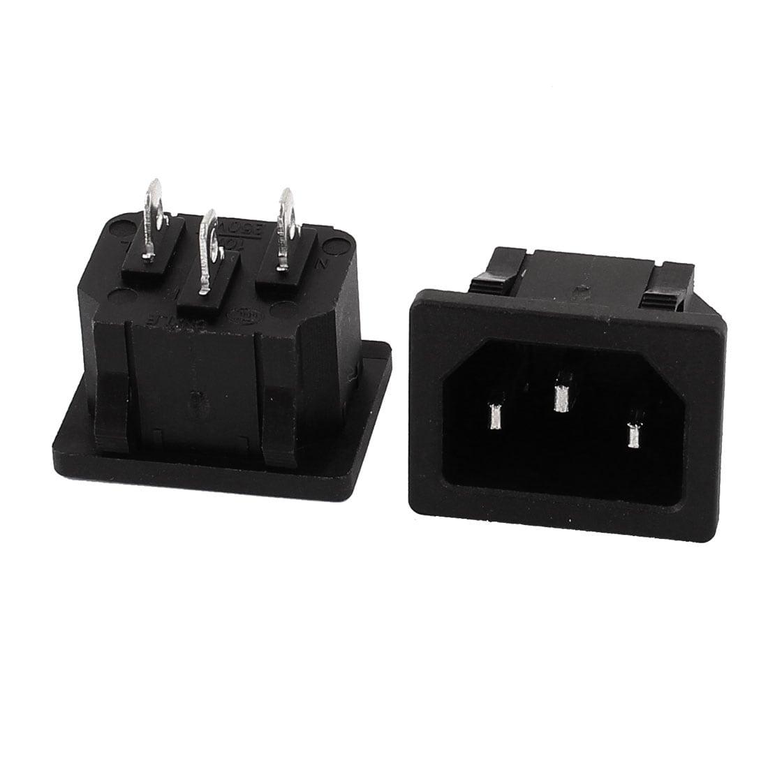 5 Pcs AC 250V 10A 3P IEC 320 C14 Plug Panel Mount Power Inlet Sockets Receptacle